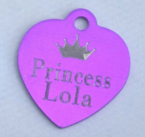 HEART SHAPE DOG TAG WITH CROWN & PRINCE & NAME & PERSONLISED ON REVERSE